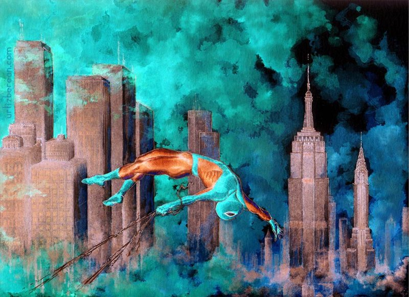 Marvel Spiderman Peter Parker dawn scenery New York skyscraper Chrysler Building Empire State watercolor art
