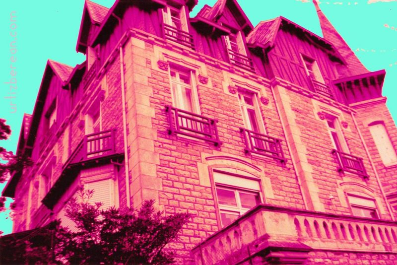 Victorian architecture stone mansion manor photography trees winter dark creepy hill Biarritz Le Goeland house terror film art