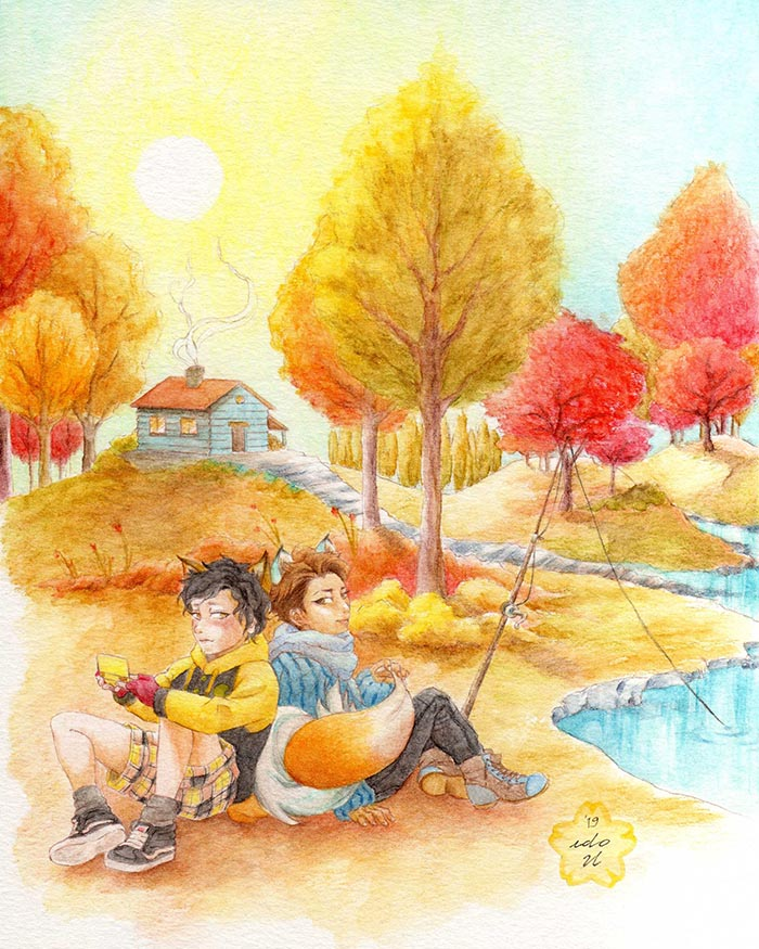 Arashi Ohmiya bl fanart are furry chibi anime boys in autumn landscape watercolor art of yellow red trees and water lake
