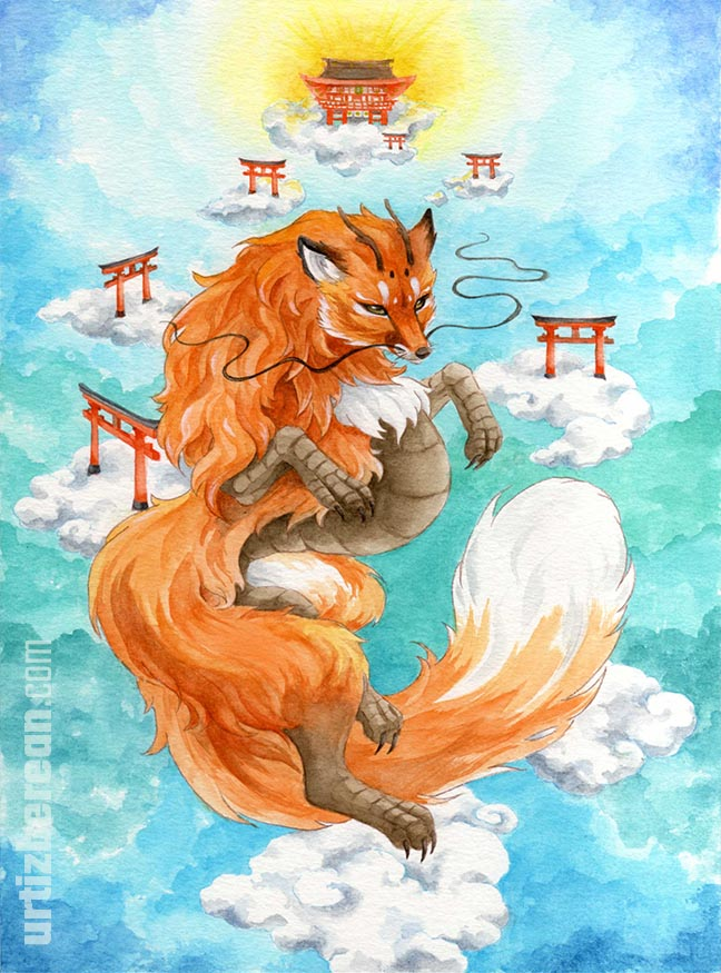 Dragon fox god art animal shinto mythology and Japanese folklore of shrines and torii watercolor artwork sky landscape