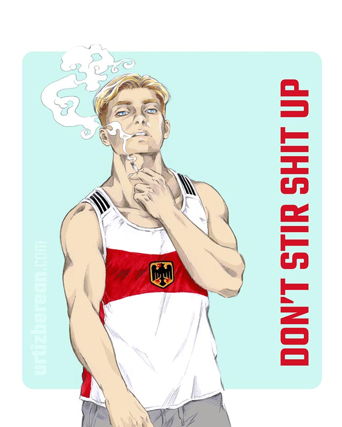 Streets in the Sky raver techno art with attack on titan shingeki no kyojin erwin smith fanart and survery corps commander handsome eruri pencil sketch and digital print germany adidas sports BL muscle hunk artwork