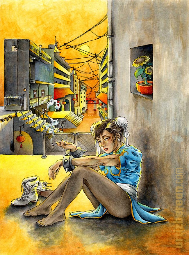 gaming fanart Street Fighter Chun-li watercolor art in China Chinese scenery vintage architecture dawn lighting orange slum picture smoking cigarette Capcom fighting arcade game gift for gamers 2020