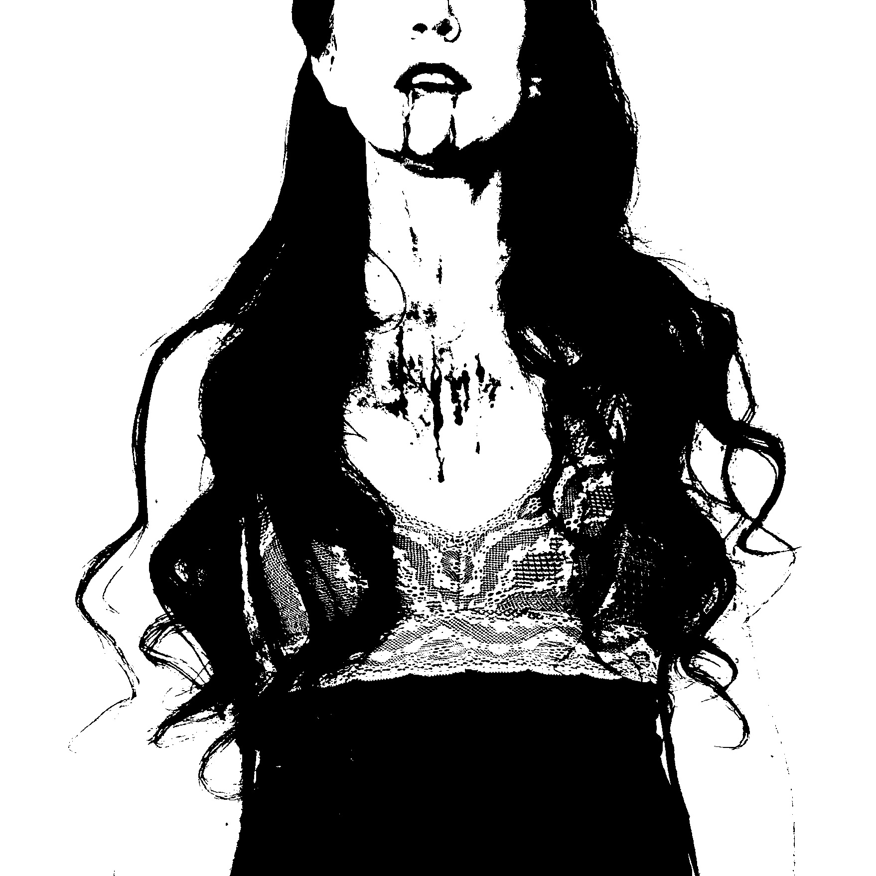 Sleepless Orchid is a Victorian and Art Nouveau art with Southern Gothic portrait in dark monochrome or black and white fantasy vampire in year 2020