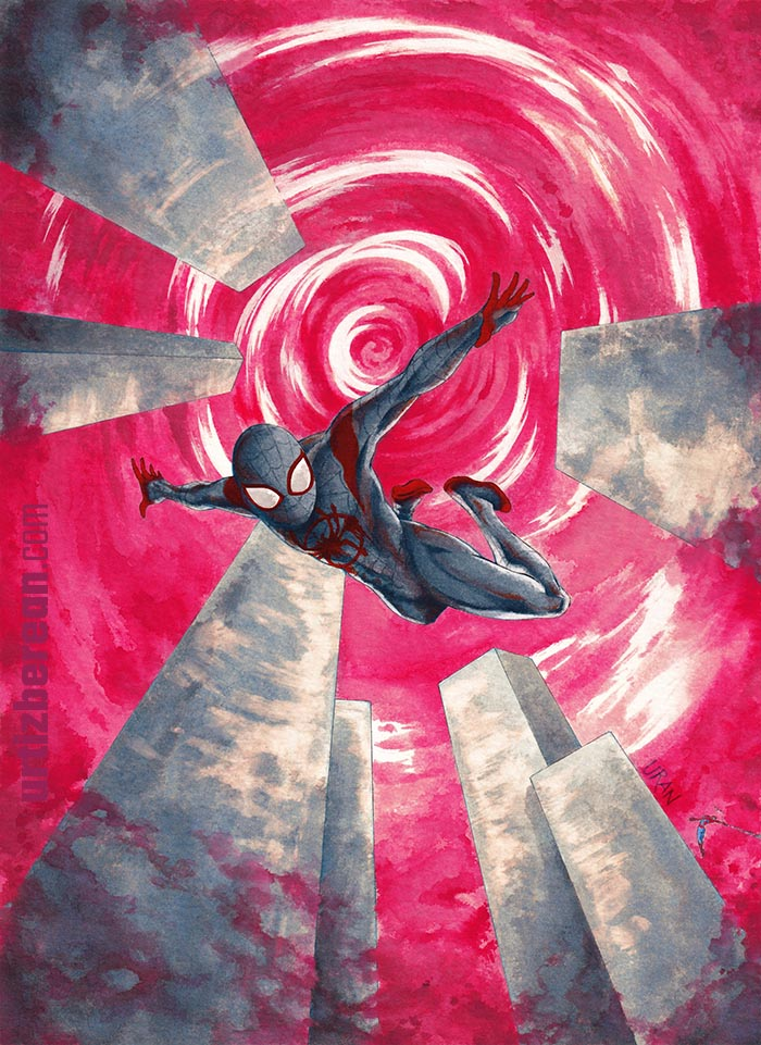 Spiderman watercolor art Miles Molares fanart falling in New York skyline in pink is a Marvel superhero drawing from Spiderverse movie scene with Peter Parker flying by URAN art