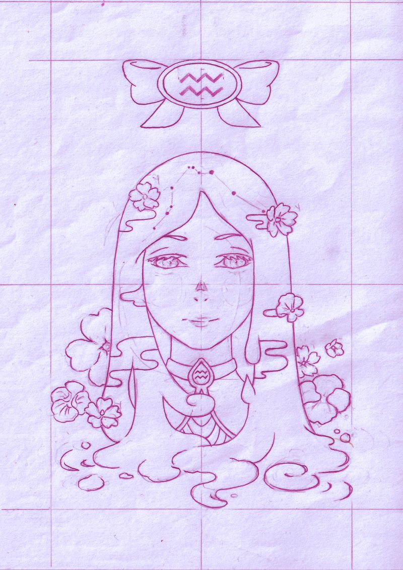 Aquarius 11 Zodiac sign art horoscope manga style drawing astrology collection with colored sketch kawaii cute girl artwork wicca pagan gift vintage tarot cards month and birthday flower seasonal mood