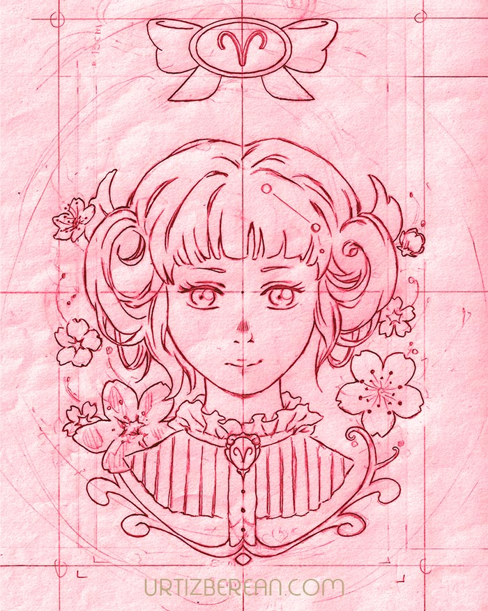 Aries 1 Zodiac sign art horoscope manga style drawing astrology collection with colored sketch kawaii cute girl artwork wicca pagan gift vintage tarot cards month and birthday flower seasonal mood