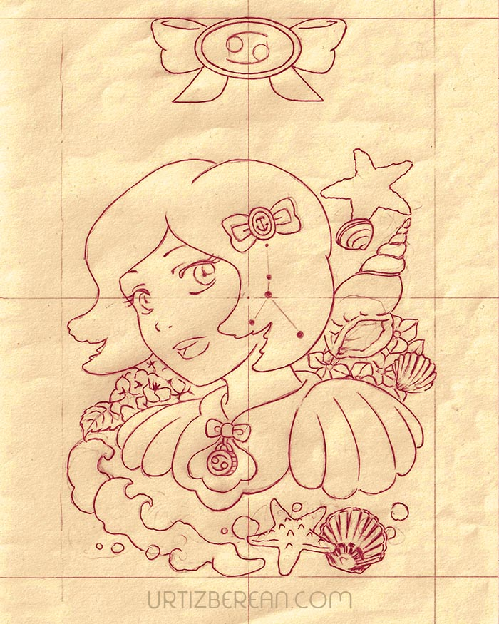 Cancer 4 Zodiac sign art horoscope manga style drawing astrology collection with colored sketch kawaii cute girl artwork wicca pagan gift vintage tarot cards month and birthday flower seasonal mood