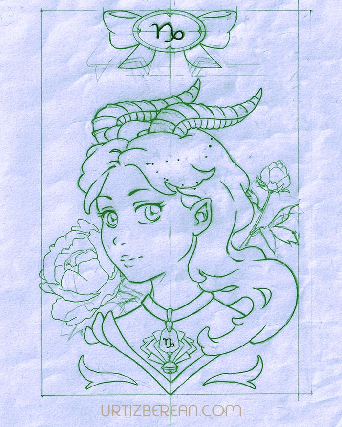 Capricorn 10 Zodiac sign art horoscope manga style drawing astrology collection with colored sketch kawaii cute girl artwork wicca pagan gift vintage tarot cards month and birthday flower seasonal mood