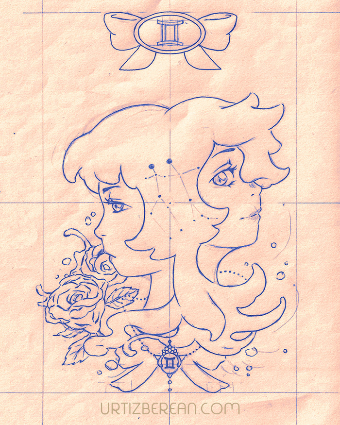 Gemini 3 Zodiac sign art horoscope manga style drawing astrology collection with colored sketch kawaii cute girl artwork wicca pagan gift vintage tarot cards month and birthday flower seasonal mood