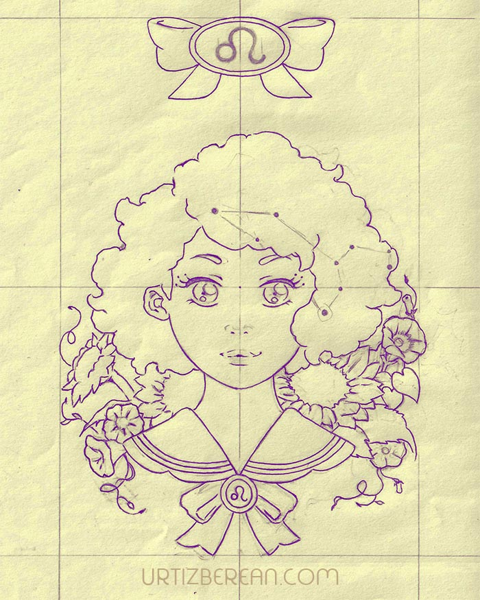 Leo 5 Zodiac sign art horoscope manga style drawing astrology collection with colored sketch kawaii cute girl artwork wicca pagan gift vintage tarot cards month and birthday flower seasonal mood