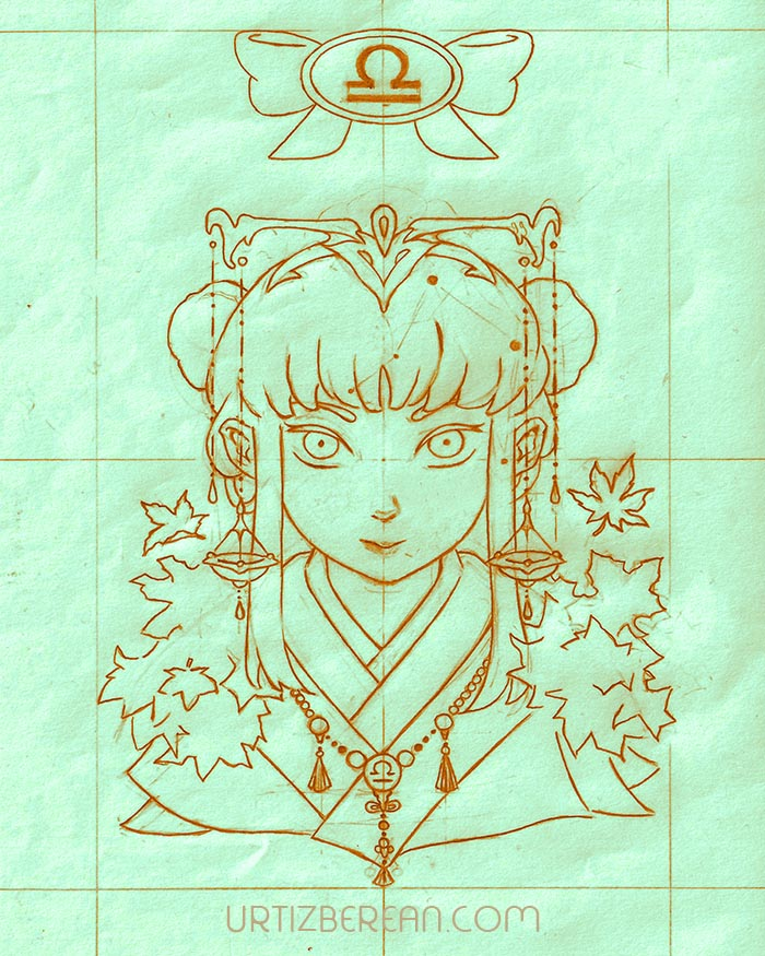 Libra 7 Zodiac sign art horoscope manga style drawing astrology collection with colored sketch kawaii cute girl artwork wicca pagan gift vintage tarot cards month and birthday flower seasonal mood