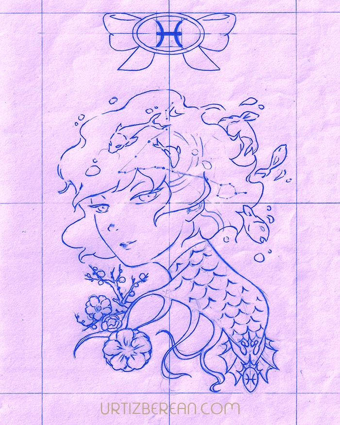 Pisces 12 Zodiac sign art horoscope manga style drawing astrology collection with colored sketch kawaii cute girl artwork wicca pagan gift vintage tarot cards month and birthday flower seasonal mood