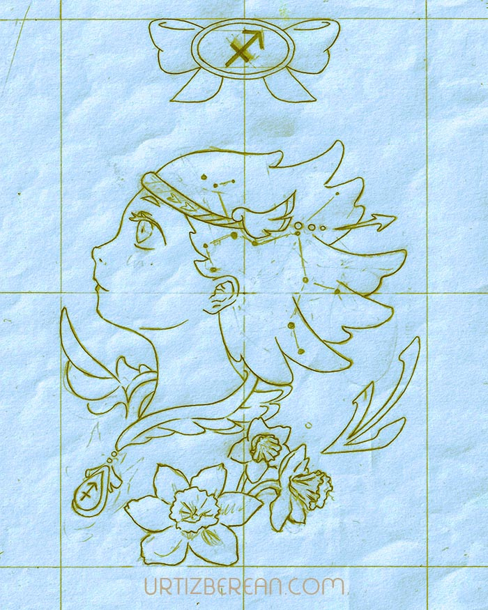 Sagittarius 9 Zodiac sign art horoscope manga style drawing astrology collection with colored sketch kawaii cute girl artwork wicca pagan gift vintage tarot cards month and birthday flower seasonal mood