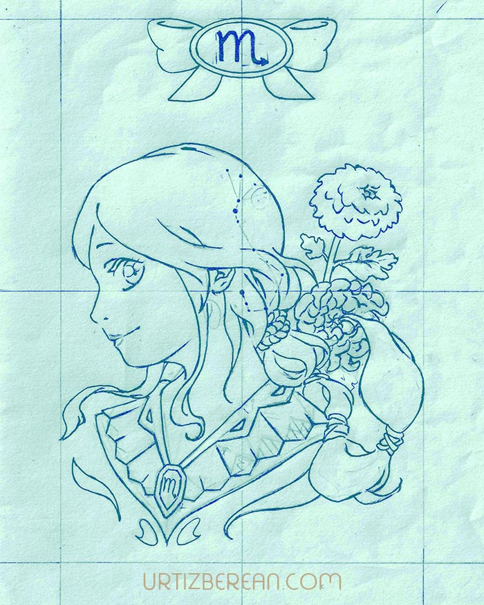 Scorpius 8 Zodiac sign art horoscope manga style drawing astrology collection with colored sketch kawaii cute girl artwork wicca pagan gift vintage tarot cards month and birthday flower seasonal mood