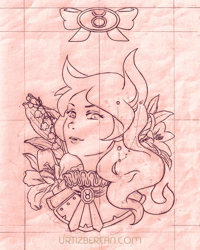 Taurus 2 Zodiac sign art horoscope manga style drawing astrology collection with colored sketch kawaii cute girl artwork wicca pagan gift vintage tarot cards month and birthday flower seasonal mood