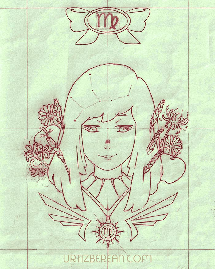 Virgo 6 Zodiac sign art horoscope manga style drawing astrology collection with colored sketch kawaii cute girl artwork wicca pagan gift vintage tarot cards month and birthday flower seasonal mood